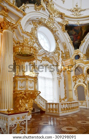 SAINT PETERSBURG, RUSSIA -JULY 11, 2015: The interior of the Cathedral of the Saviour in the Winter Palace, the Hermitage. Was built by order of Empress  - stock photo