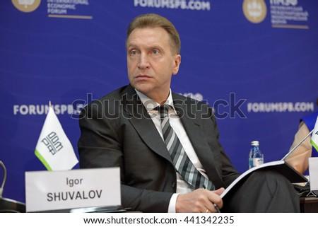 SAINT-PETERSBURG, RUSSIA - JUN 17, 2016: St. Petersburg International Economic Forum SPIEF-2016. Igor Shuvalov - First Deputy Prime Minister of Russia - stock photo