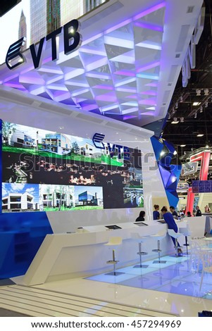 SAINT-PETERSBURG, RUSSIA - JUN 18, 2016: St. Petersburg International Economic Forum SPIEF-2016. Stand of Joint Stock Company VTB Bank