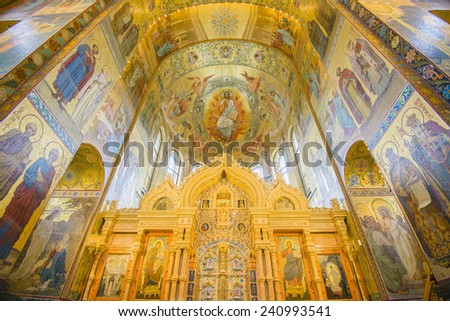 SAINT PETERSBURG, RUSSIA - JUNE 1, 2014: Interior of the Church of the Savior on Spilled Blood on June 1, 2014 in St. Petersburg, Russia.