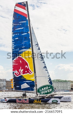 SAINT-PETERSBURG, RUSSIA - JUNE 28, 2014: Red Bull Sailing Team (AUT) yacht on Act 4 of the Extreme Sailing Series catamarans race on 26th-29th June 2014 in St. Petersburg - stock photo