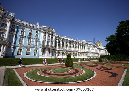 SAINT PETERSBURG, RUSSIA - JUNE 15: The exterior of Catherine Palace in Tsarskoye Selo (Tsar's Village), just outside of Saint Petersburg, Russia on Wednesday, June 15, 2011