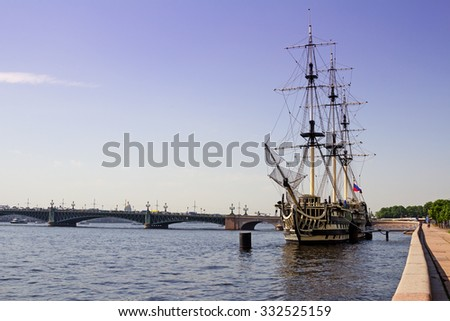 Saint Petersburg, Russia - June 06, 2014: The model of a sailing ship on the Neva river - stock photo