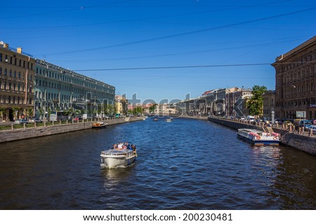 SAINT-PETERSBURG, RUSSIA - JUNE 15, 2014: View of the canal , St. Petersburg on June, 15, 2014. Saint-Petersburg is called Northern Venice, one of the most popular city. - stock photo