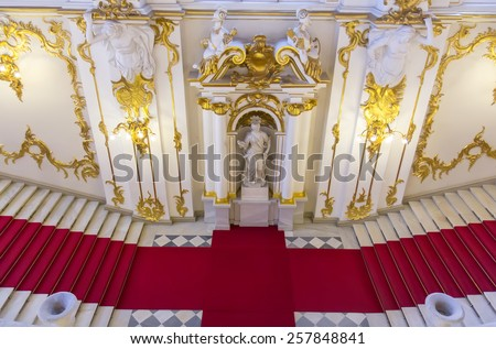 SAINT PETERSBURG, RUSSIA - MARCH 03, 2015: Interior of the State Hermitage, a museum of art and culture in Saint Petersburg, Russia. It was founded in 1764 by Catherine the Great - stock photo