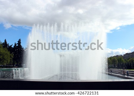 SAINT-PETERSBURG, RUSSIA - MAY, 2016. Complex of singing fountains at Moscow Square in sunny day - stock photo