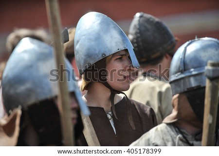 "Saint-Petersburg, Russia - 15 May 2010: Festival ""Legends of the Norwegian Viking,"" on the banks of the Neva River in the city center. People in historical costumes show the life and combat skills"