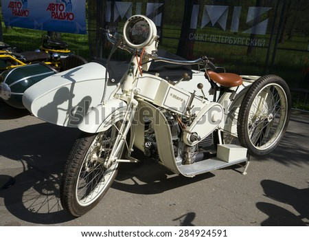 "SAINT-PETERSBURG, RUSSIA - MAY 18, 2014: Motorcycle Mars A20 (White Mars) at the exhibition ""AUTOSERVISAS on the Neva - 2014"""