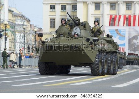 SAINT-PETERSBURG, RUSSIA - MAY 05, 2015: The BTR-82A on rehearsal of parade in honor of Victory Day on Palace square