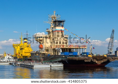 SAINT-PETERSBURG, RUSSIA, MAY 03: The festival of icebreakers, which is timed to the 150th anniversary of the Russian icebreaker fleet. May 03, 2016 in Saint-Petersburg, Russia - stock photo