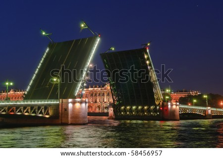 Saint Petersburg, Russia, night view of Drawbridge Dvortsoviy. - stock photo