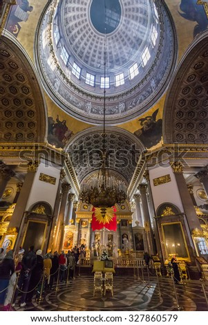 SAINT PETERSBURG, RUSSIA - OCTOBER 10, 2015: Interior of Kazan Cathedral (1801-1811), which is Russian Orthodox Church dedicated to Our Lady of Kazan. Cathedral was modelled by A. Voronikhin