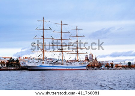 "SAINT-PETERSBURG, RUSSIA - OCTOBER 20, 2012. ""Mir"" - three-masted  ship on the Neva River. It won prizes at the most prestigious sailing regattas and considered the fastest sailing ship in the world."