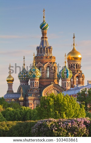 "Saint Petersburg, Russia,  Orthodox Church ""Spas na Krovi"".  Church of the savior on spilled blood or Cathedral of the Resurrection of Christ. - stock photo"