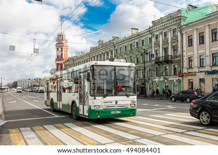 SAINT PETERSBURG, RUSSIA - September 12, 2016: Bus on Nevsky prospect, St. Russia.