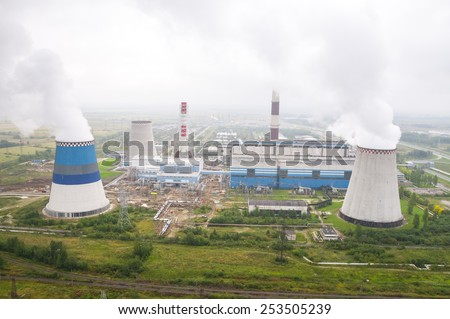 SAINT-PETERSBURG, RUSSIA  - SEPTEMBER 12: South thermal power station . Flight on a  helicopter along the Neva river, on September 12, 2010.  - stock photo