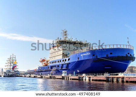SAINT-PETERSBURG, RUSSIA - SEPTEMBER 13, 2016: The new Russian diesel-electric icebreakers MURMANSK on the quay at the English Embankment in St. Petersburg