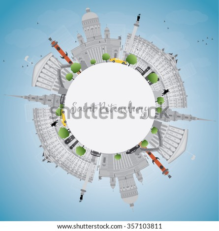 Saint Petersburg skyline with gray landmarks and copy space. Business travel and tourism concept with historic buildings. Image for presentation, banner, placard and web site.