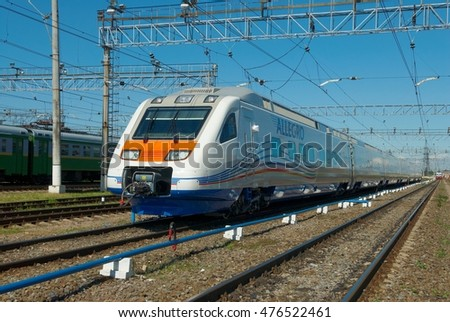 SAINT-PETRSBURG, RUSSIA, JULY 06, 2010: High speed train Pendolino Sm6 - ALLEGRO at Metalostroy passenger rolling stock depot under first maitenance. Train: Pendolino Sm6 - ALLEGRO, produced by Alstom