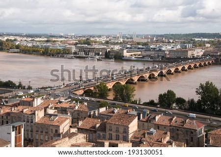 Saint Pierre bridge, Bordeaux, France - stock photo