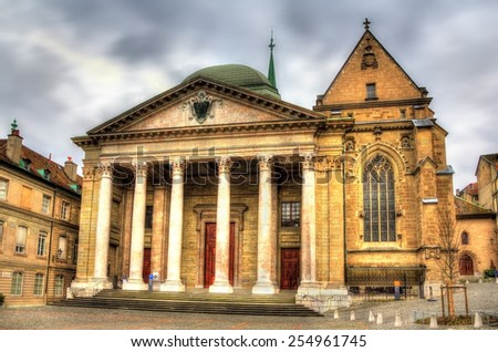 Saint Pierre Cathedral of Geneve in Switzerland - stock photo
