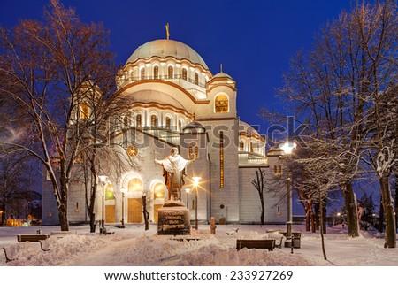 Saint Sava temple at night, Belgrade Serbia - stock photo