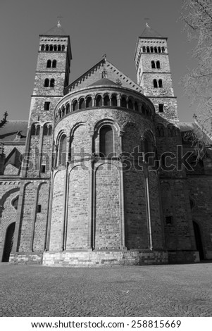 Saint Servatius church at the Vrijthof in Maastricht, The Netherlands (black and white) - stock photo