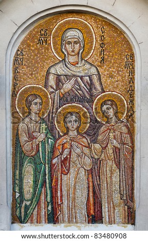 Saint Sophia and her three daughters: Faith, Hope and Love. Orthodox church in Sevastopol Ukraine - stock photo