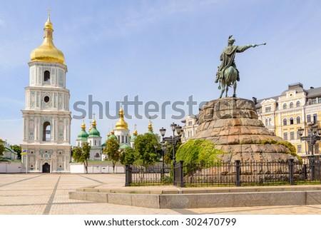 Saint Sophia Church and Bohdan Khmelnytsky statue in Kiev, Ukraine - stock photo