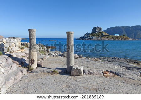 Saint Stefanos ancient basilica and beach at Kos island in Greece - stock photo