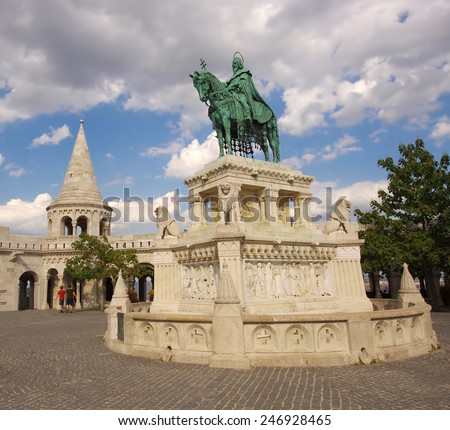 Saint Stephen statue at Matthias Church, Budapest - stock photo