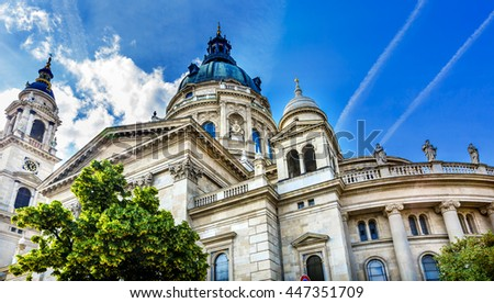 Saint Stephens Cathedral Budapest Hungary.  Saint Stephens named after King Stephens who brought Christianity to Hungary.  Cathedral built in the 1800s and consecrated in 1905. - stock photo