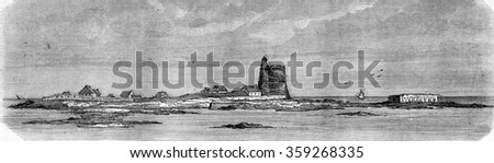 Saint-Vaast La Hougue, Tatihou Island and Lazaretto at low tide, vintage engraved illustration. Magasin Pittoresque 1880.