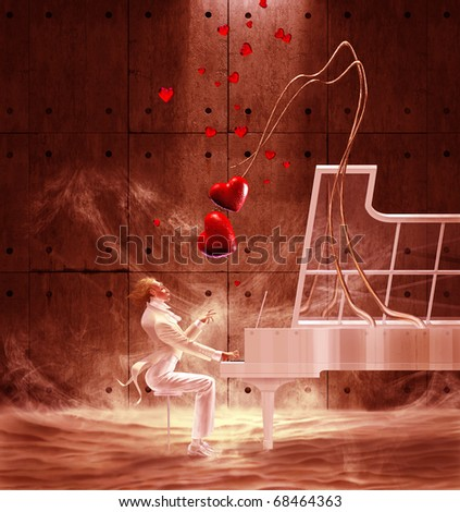 Saint Valentine's Day pianist playing the piano and red hearts are flying - stock photo