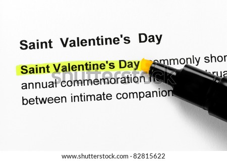 Saint Valentine`s day text highlighted in yellow, under the same heading