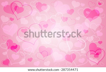 Saint Valentines Day abstract background with pink hearts shapes, romantic love concept - stock photo