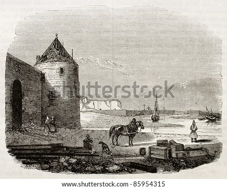 Saint-Valery-en-Caux port old view. By unidentified author, published on Magasin Pittoresque, Paris, 1842 - stock photo