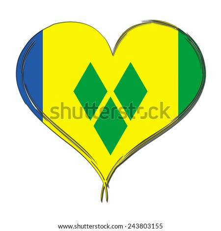 Saint Vincent and Grenadines 3D heart shaped flag - stock photo