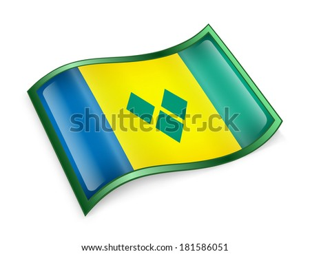 Saint Vincent and the Grenadines flag icon, isolated on white background - stock photo