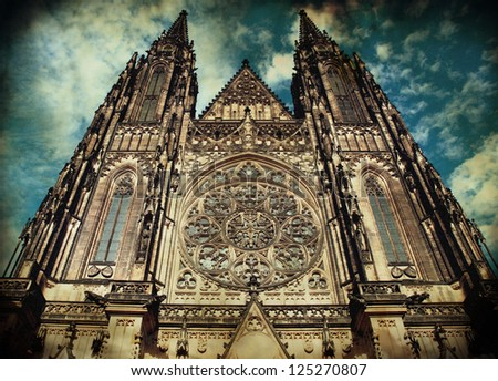 Saint Vitus Cathedral in Prague, Chezch Republic in grunge-vintage style