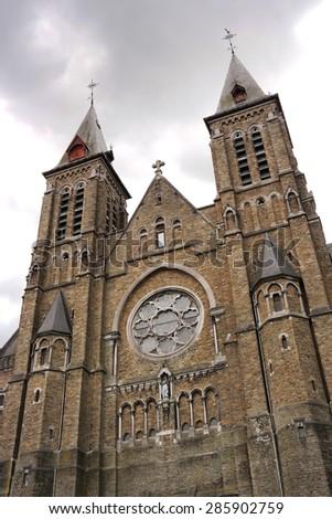 Sainte Julienne church in Verviers, Belgium. A large, neo-gothic church. - stock photo