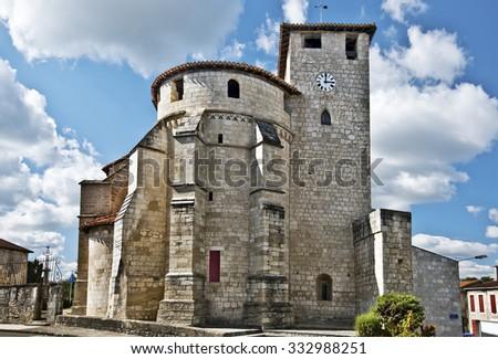 Sainte-Marie de Roquefort Church, the roman-catholic church in Roquefort des Landes, in the pilgrimage way of Saint-Jacques-de-Compostelle, Aquitaine, France - stock photo