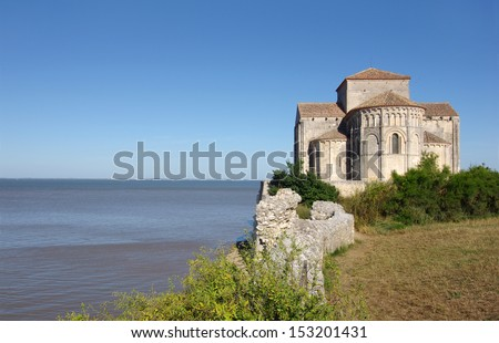 Sainte Radegonde church is located in the south west of France. it overlooks the Gironde estuary - stock photo