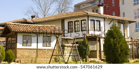 SAINTS CONSTANTINE AND HELENA, BULGARIA - APRIL 2, 2015: restaurant in Bulgarian national style in Saints Constantine and Helena, the oldest first sea resort of Bulgaria, exists from 19 century.