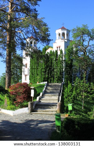 Saints Cyril and Methodius Katholikon - the main church in Klisurski monastery. Close to Sofia, Bulgaria. - stock photo