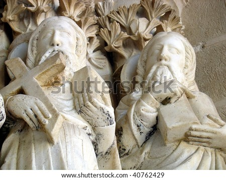 Saints in St. Jeronimos Monastery wall, Portugal - stock photo