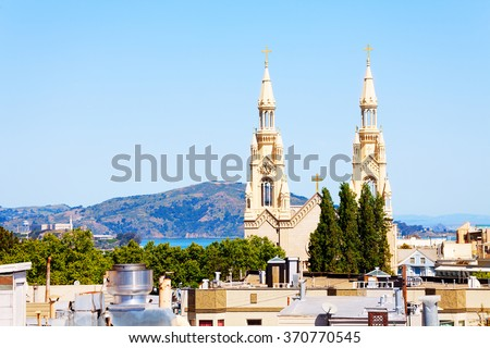 Saints Peter and Paul Church in San Francisco - stock photo