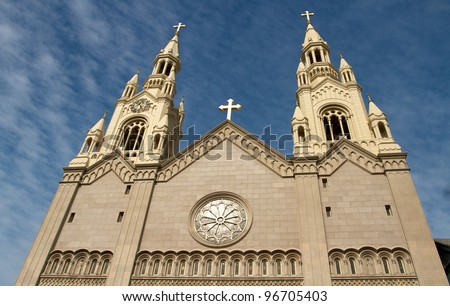 Saints Peter and Paul Church San Francisco, California, USA - stock photo