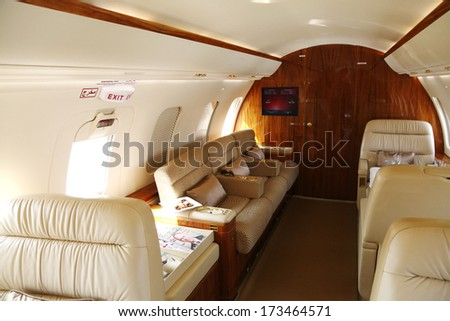 SAKHIR AIRBASE, BAHRAIN - JANUARY 16: Interior of a Static displayed King Air 350ER in Bahrain International Airshow at Sakhir Airbase, Bahrain on 16 January, 2014