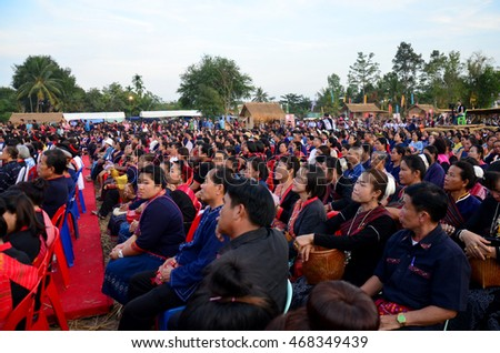 SAKON NAKHON, THAILAND - JANUARY 16 : Phu tai people wear clothes national costume phu thai for show and join phu thai world day festival at Ban Non Hom on January 16, 2016 in Sakon Nakhon, Thailand